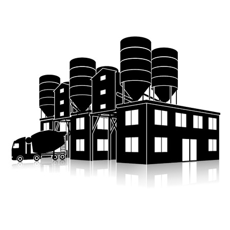 cement chimney: silhouette factory building for the production of concrete with reflection on white background