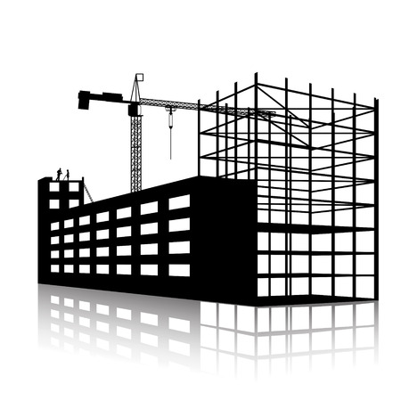 silhouet van de kraan en gebouw in aanbouw op een witte achtergrond