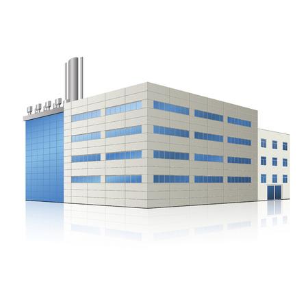 工場棟・ オフィス、生産設備、反射を  イラスト・ベクター素材