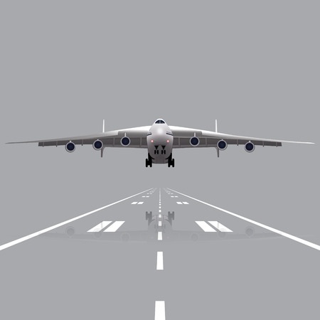 taking off: plane taking off with a reflection on a gray background Illustration