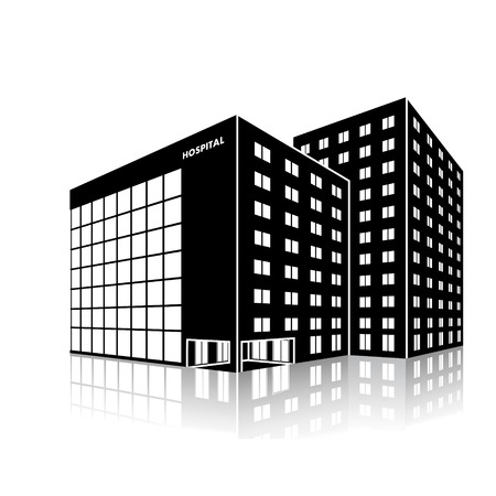 silhouette city hospital building with reflection on a white background