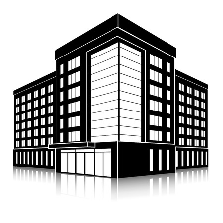 silhouet kantoorgebouw met een ingang en reflectie op een witte achtergrond