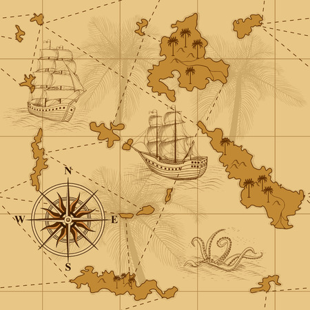 seamless old map with a compass and ships in yellow