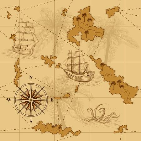 naadloze oude kaart met een kompas en schepen in het geel Stock Illustratie