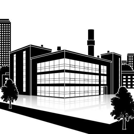 Het silhouet van de fabriek gebouw met kantoren en productiefaciliteiten in perspectief Stock Illustratie