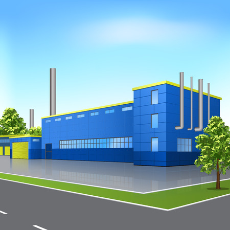 factory building with offices and production facilities in perspective Stock Illustratie