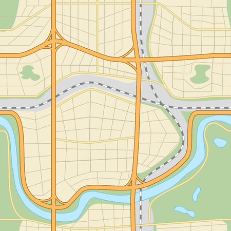seamless city map with roads, parks, lakes and river