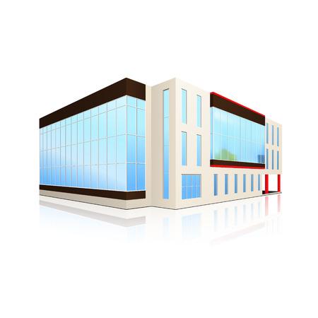 事務所ビル、白い背景の上の反射の入り口
