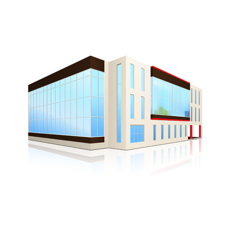 office building and the entrance with reflection on a white background Illustration