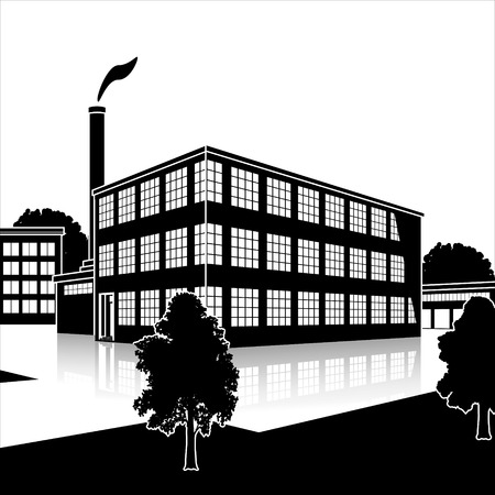 perspektiv: silhouette factory building with offices and production facilities in perspective