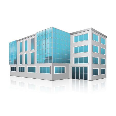 事務所ビルの入り口と白い背景の反射