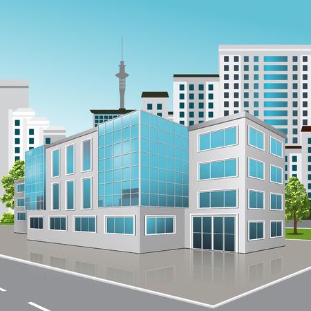 kantoorgebouw met de ingang en een reflectie op de achtergrond van de straat