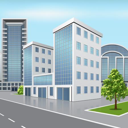 kantoorgebouw met reflectie en de boom op de straat achtergrond