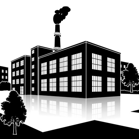 clean office: silhouette factory building with offices and production facilities in perspective