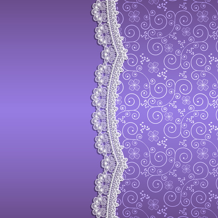 ladylike: white lace with flowers and shade on a purple background Illustration