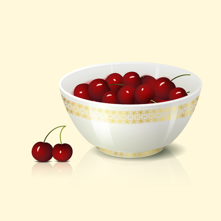 small group of objects: white bowl with cherry shadow and reflection on a light background