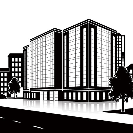 building silhouette: silhouette office building with the entrance and a reflection on the background of the street Illustration