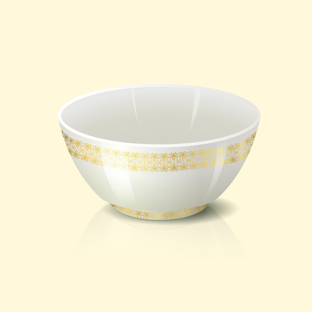 bowls: bowl with golden floral ornament and reflection on a yellow background Illustration