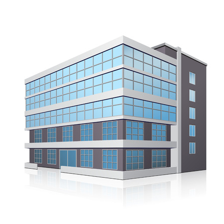 building industry: office building with entrance and reflection on white background