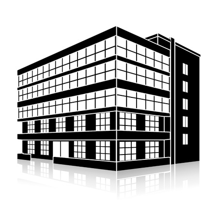 oficina: edificio de oficinas de la silueta con una entrada y la reflexión sobre un fondo blanco