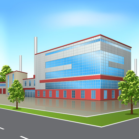 built tower: factory building with offices and production facilities in perspective Illustration