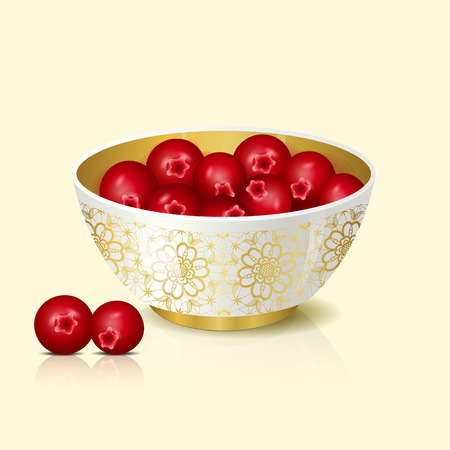 cranberries: white bowl with cranberries shadow and reflection on a light background