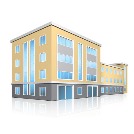 exteriors: office building with entrance and reflection on white background