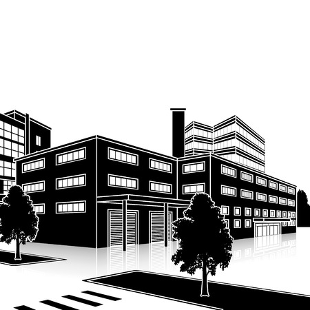 built: silhouette factory building with offices and production facilities in perspective