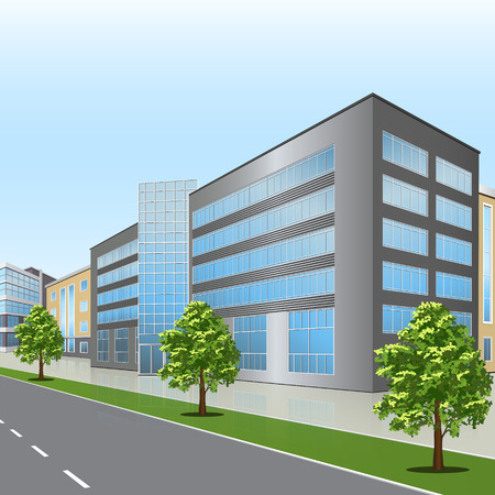 office scene: office building with the entrance and a reflection on the background of the street
