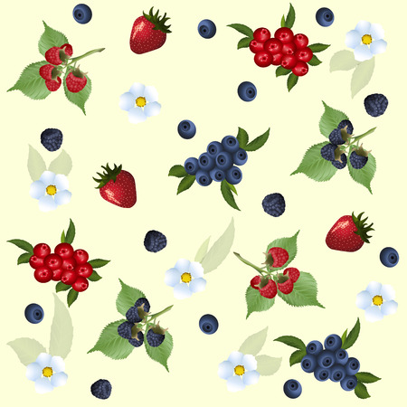 isolated flower: seamless pattern of strawberry, raspberry, blueberry and flowers with green leaves Illustration
