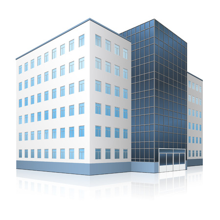 architecture and buildings: office building with entrance and reflection on white background