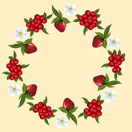 cranberries: frame of strawberries and cranberries with green leaves on a light background