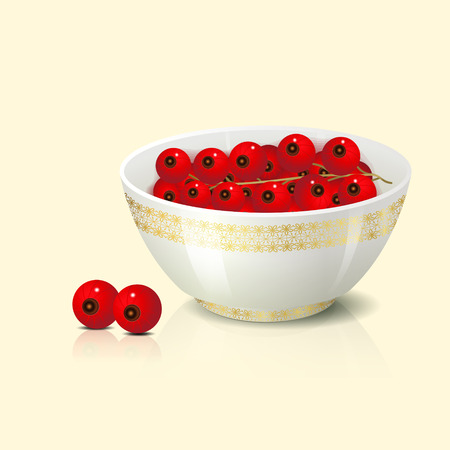 red currant: white bowl with red currant shadow and reflection