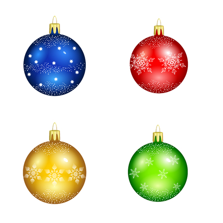 schneeflocke: set of christmas balls with snowflakes for decorations on a white background