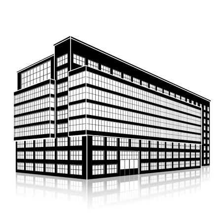 building silhouette: silhouette office building with an entrance and reflection on a white background