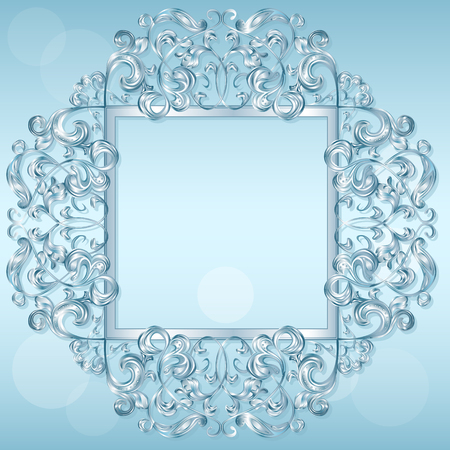 design objects: carved frame of ice for picture or photo on a blue background