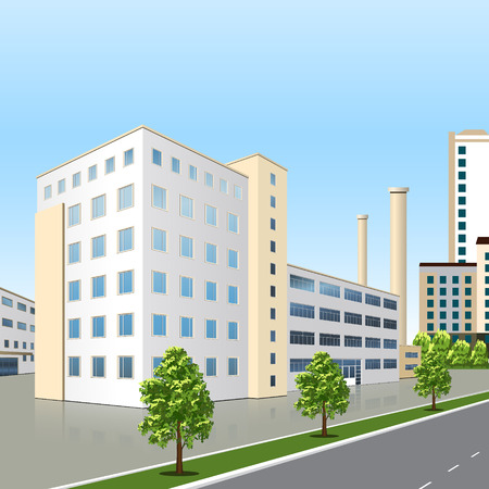 built: factory building with offices and production facilities in perspective Illustration