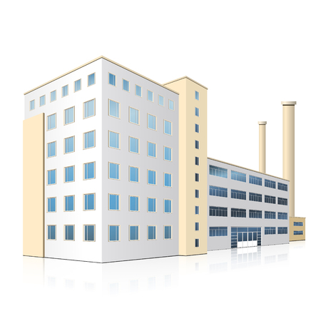 built tower: factory building with offices, production facilities and reflection