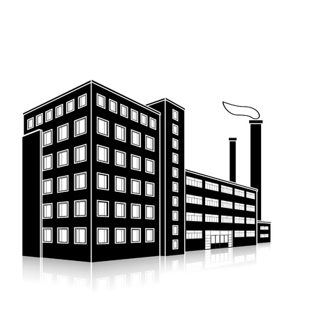 built tower: silhouette factory building with offices and production facilities in perspective