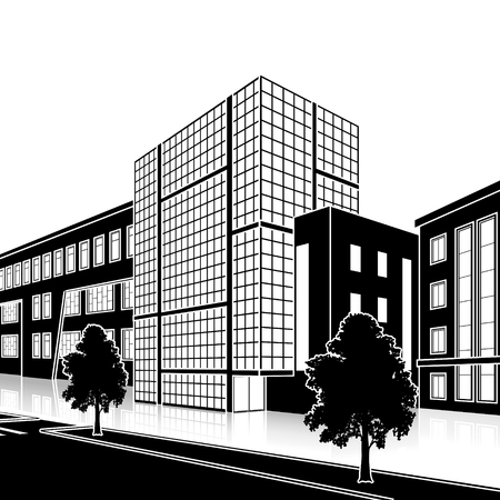 town square: silhouette office building with the entrance and a reflection on the background of the street Illustration
