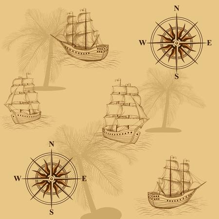 nahtlose alte Karte mit einem Kompass und Schiffe in gelb