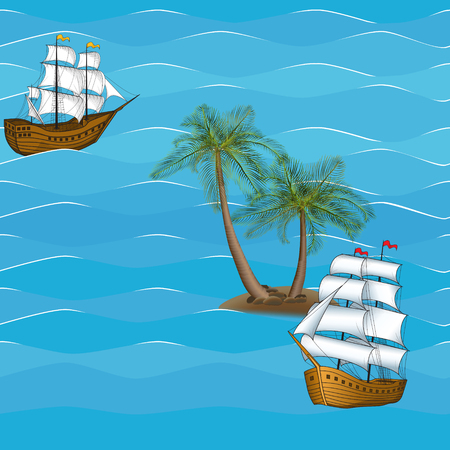 galley: seamless picture vintage sailing ship in the sea against the backdrop of palm trees Illustration