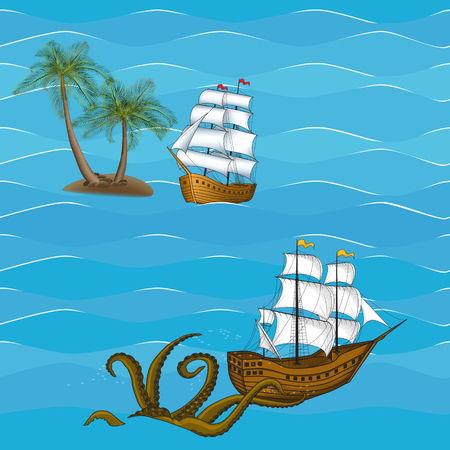 galley: seamless picture vintage sailing ship and kraken at sea Illustration