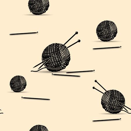 seamless pattern silhouette skeins of yarn for knitting with shadow Vektoros illusztráció