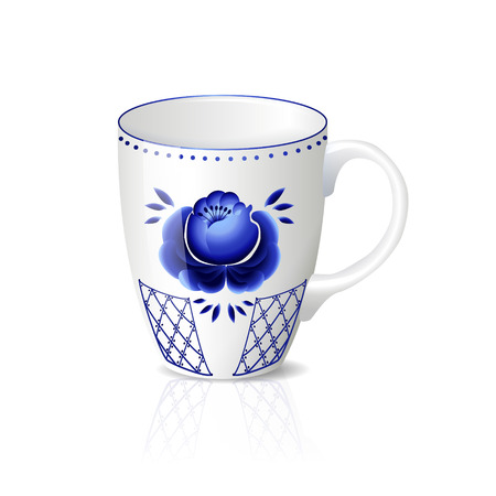 cups of coffee: white cup with blue floral ornament, reflection and shadow on a white background