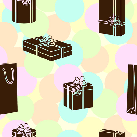 holiday gifts: seamless pattern silhouettes boxes with gifts for the holiday Illustration