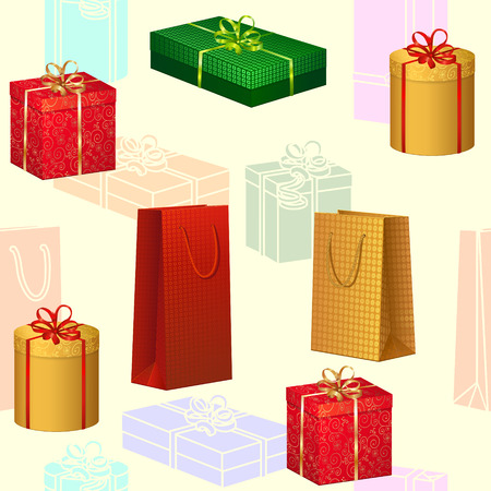 holiday gifts: seamless pattern colored boxes with gifts for the holiday