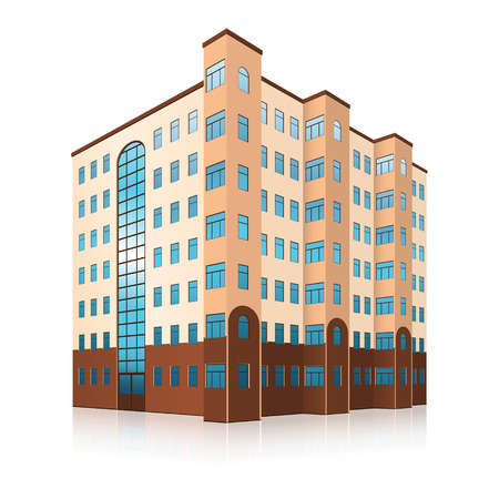 office building: office building with entrance and reflection on white background
