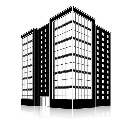office building: silhouette office building with an entrance and reflection on a white background