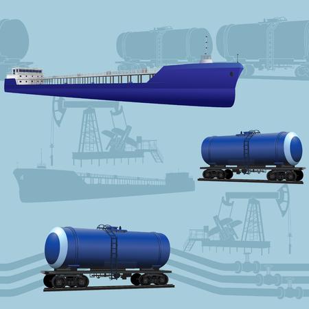 barge: seamless oil transportation: marine tanker, rail tanker, pipelines on a blue background Illustration